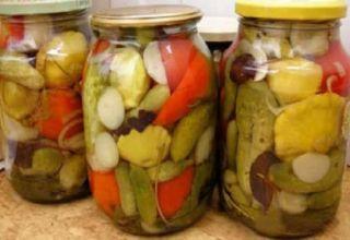Ako variť zeleninovú záhradu v pohári s paradajkami, kapustou, paprikou a mrkvou bez sterilizácie na zimu