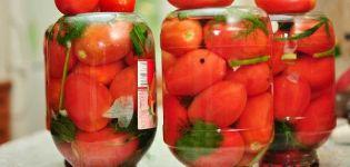 Resepti peitattujen tomaattien ja kirsikkalehden valmistamiseksi talveksi
