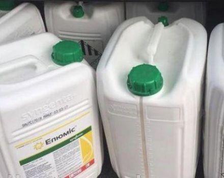 Instrucciones para el uso del herbicida Elumis y la dosis del medicamento.