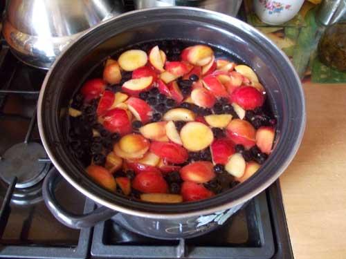 compota de cereza y manzana