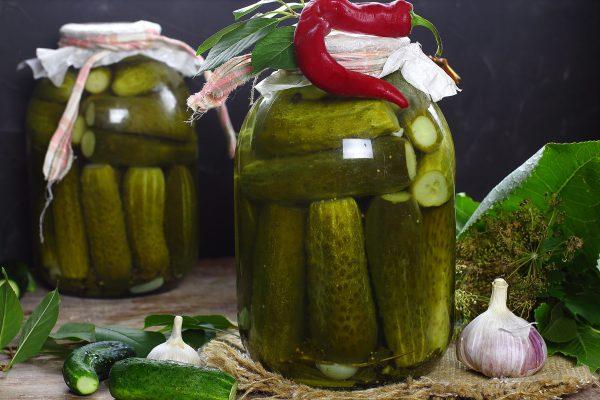 canned cucumbers in a jar