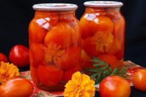 A téli paradicsom pácolás körömvirággal és lépésről-lépésre recept egy liter üvegre